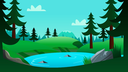 cartooning: A illustration of a lake and forest background in modern cartooning and clean style. On the illustrations, theres a lake, pine trees, mountain and sky.