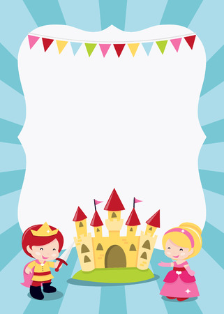 A cartoon illustration of a princesses, prince and knight party theme blank copyspace. Ideal for party invitations, kid poster and more.