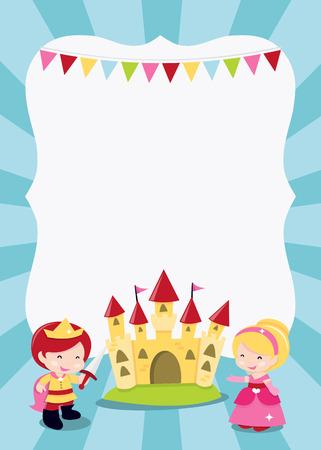 Uma ilustração dos desenhos animados do princesas, príncipe e cavaleiro festa tema em branco copyspace. Ideal para convites de festas, pôsteres infantis e muito mais. Foto de archivo - 39135093