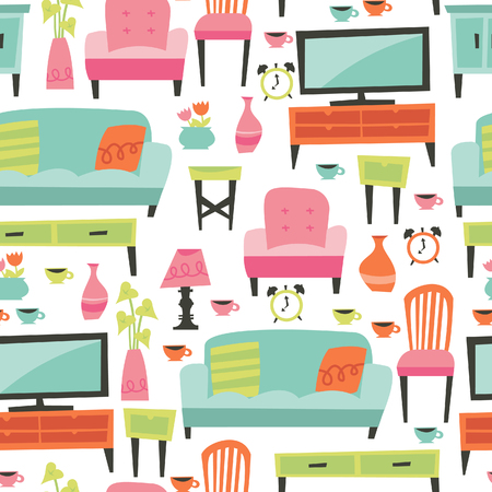 side table: A illustration of retro inspired home living furniture theme seamless pattern background.