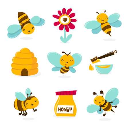 A illustration of various honey bee theme characters and icons.