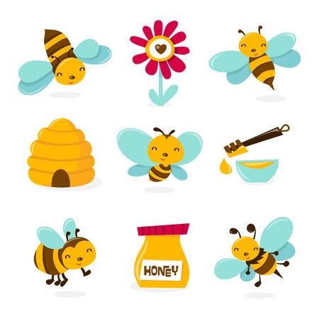 abeja caricatura: Una ilustración de varios personajes y los iconos del tema de abejas.