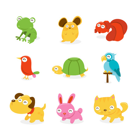 A cartoon illustration set of various happy pet shop animals like frog, hamster, goldfish, bird, turtle, parrot, puppy dog, bunny rabbit and pussy cat.