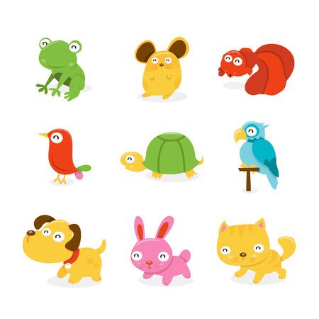 Een cartoon illustratie verzameling van verschillende happy dierenwinkel dieren zoals kikker, hamster, goudvis, vogel, schildpad, papegaai, puppy hond, konijn en pussy cat.