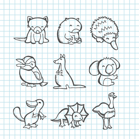 A illustration of happy Australian animals set  Vector