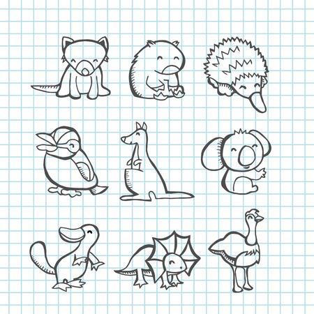 wombat: Una ilustración de animales australianos felices set