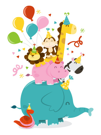 celebration party: A cartoon illustration of happy jungle animals stack in celebration party mood.  Illustration