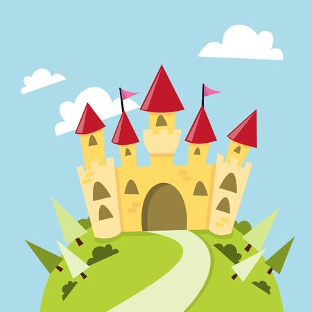 Een cartoon illustratie van een schattige kasteel in de bergen.