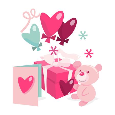 balloons teddy bear: A illustration of valentines day gift hamper set like gift, teddy bear, heart shaped balloons and valentines day card.