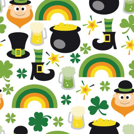 traditionally irish: A illustration of a retro theme st patricks day seamless pattern background.