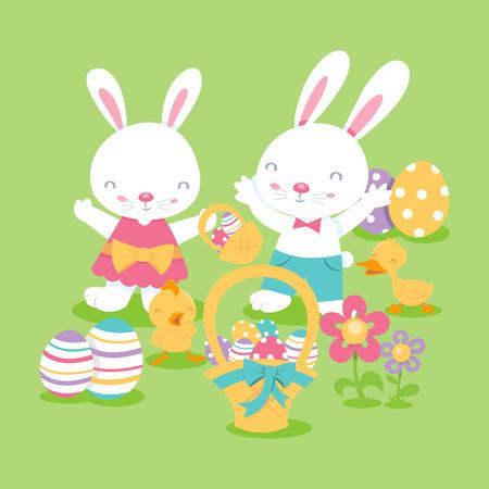 baby duck: Un fumetto illustrazione del super cute scena di Pasqua con una ragazza coniglietto, coniglietto ragazzo, bambino anatra, pulcini e uova di Pasqua. Vettoriali