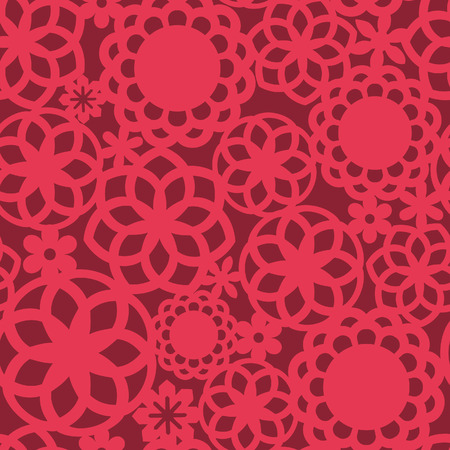 fretwork: A illustration of red floral fretwork lace seamless pattern background. Illustration
