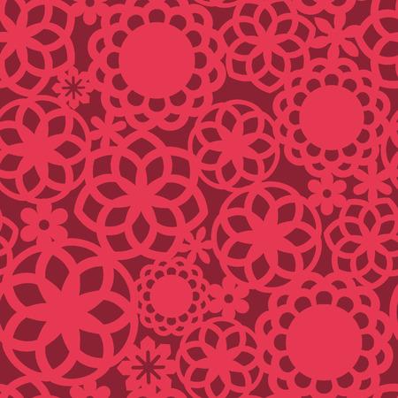 fretwork: Una ilustraci�n de rojo de encaje calado floral patr�n de fondo sin fisuras.