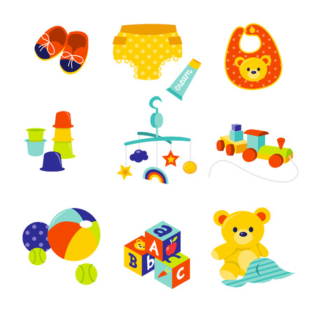 stacking: A cartoon illustration of cute baby gears and toys.