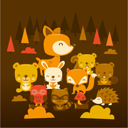 critters: A cartoon illustration scene of super cute woodland creatures and critters.