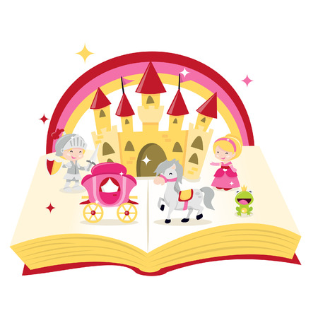 A cartoon illustration of fairy tale story book filled with castle, knight, princess and carriages.