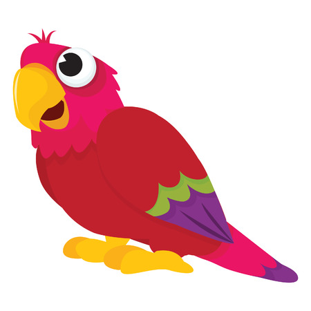 perching: A cartoon illustration of a happy parrot perching on a ground. Illustration