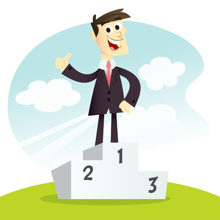 the proud: A cartoon illustration of number one business man showing a thumb up standing on a winning podium. Illustration