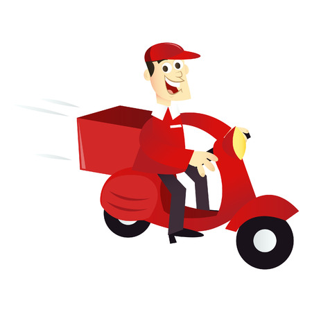A cartoon illustration of a typical home delivery man in a scooter.
