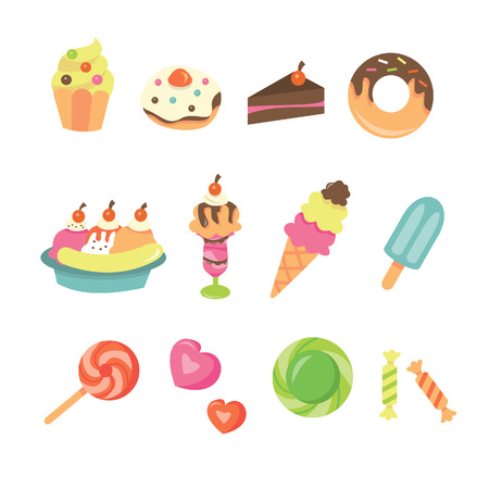 A illustration of cute sweet desserts icon set. Included in this set:- cupcake, donut, cake, pastry, sundae, ice cream, ice pop, candies, sweets and lollipop.