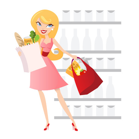 A cartoon illustration of a cute blonde girl doing grocery shopping.