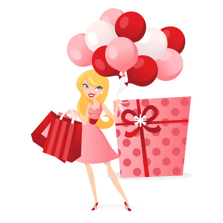 bringing: A chic illustration of a happy blonde girl bringing gifts and balloons.