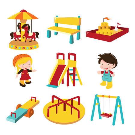 A cartoon illustration of various outdoor playground theme icon set. Included in this set:- merry-go-round, bench, sand pit, girl, boy, slide, see saw, roundabout and swing.