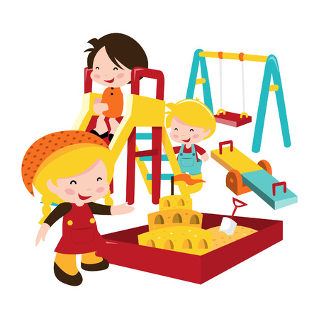 see saw: A cartoon illustration of typical kids playground. Illustration