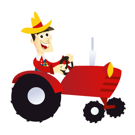 A cartoon illustration of a happy smiling farmer driving a red farming tractor.