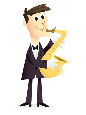 dapper: A cartoon illustration of a saxophone player in dapper suit.