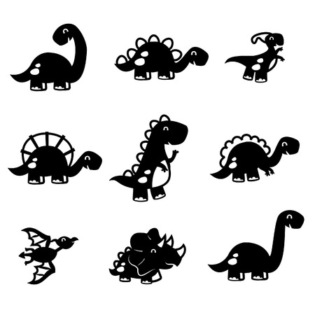 A illustration of paper cut inspired black and white cute fun dinosaur set. Included in this set: t-rex, triceratops, tyrannosaurus, Pterodactyls, Stegosaurus, spinosaurus, long neckApatosaurus and more.