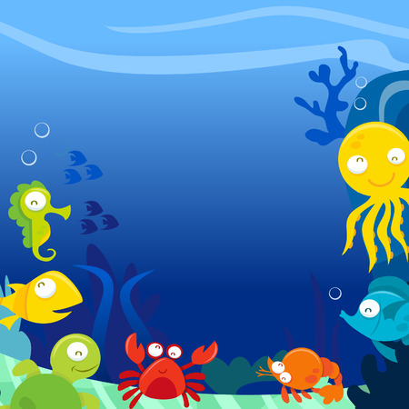 sea life centre: A illustration of happy silly cute sea animals underwater square copy space background.