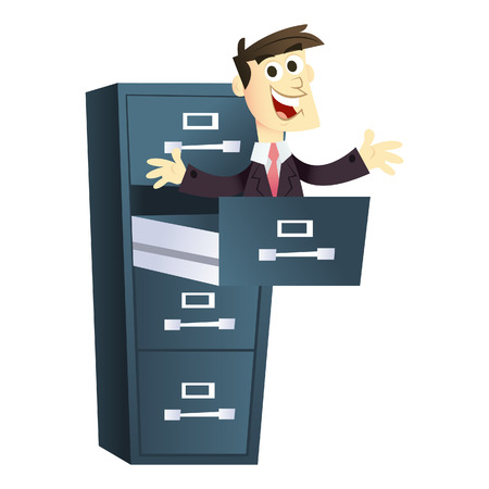 filing cabinet: A cartoon illustration of business man pop up from a filing cabinet.