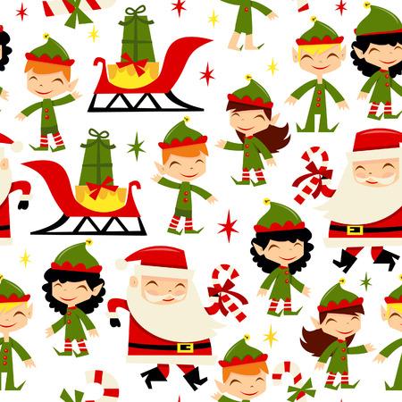 A cartoon illustration of cute christmas santa and his elves seamless pattern background. Ilustracja