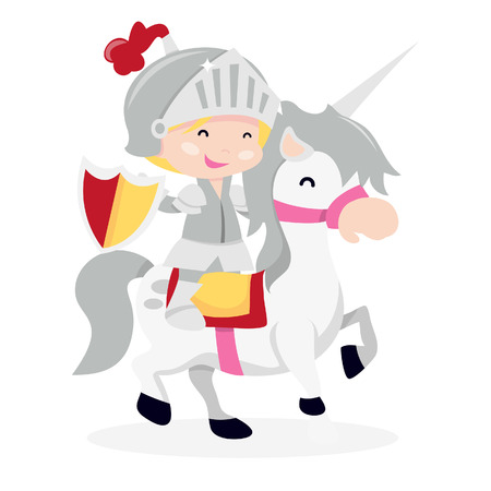 little boy: A cartoon illustration of a cute little boy in knight suit and armor jousting on a horse.