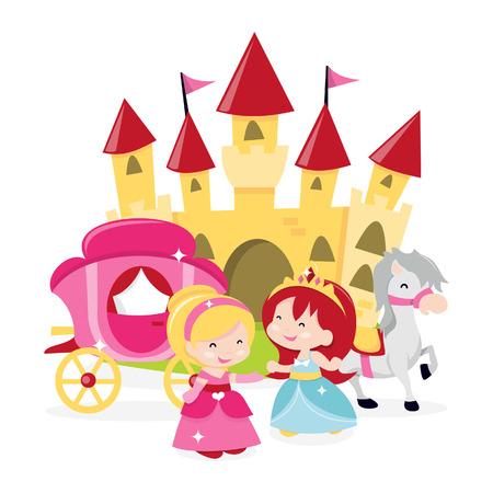 castillos de princesas: Una ilustración de dibujos animados de princesas lindos y felices, y su castillo con carruaje tirado por caballos.