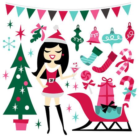 luau party: Una ilustraci�n de 1960 retro inspirado cute elementos de dise�o hawaiano fiesta luau establecidos. Incluido en este conjunto: - chica santarina, �rbol de navidad, adornos de Navidad, regalos, trineo, bast�n de caramelo, medias de la navidad, mu�rdago y m�s. Vectores