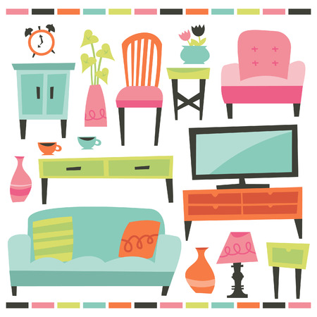 A chic illustration of retro inspired home and living furniture design elements.