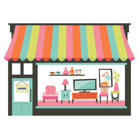 shopfront: A chic illustration of a home living furniture shopfront with a large window display showcasing various furniture such as armchair, table, entertainment unit and more. Illustration