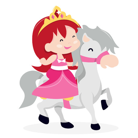 royal person: A cartoon illustration of a cute princess girl riding her little pony horse.