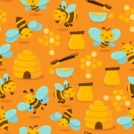 whimsical: A illustration of a cute whimsical happy honey bee theme seamless pattern with golden yellow colored background. Illustration