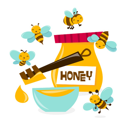 A cartoon illustration of a bunch of cute honey bees swarming over a bowl and a jar of honey.  Vector