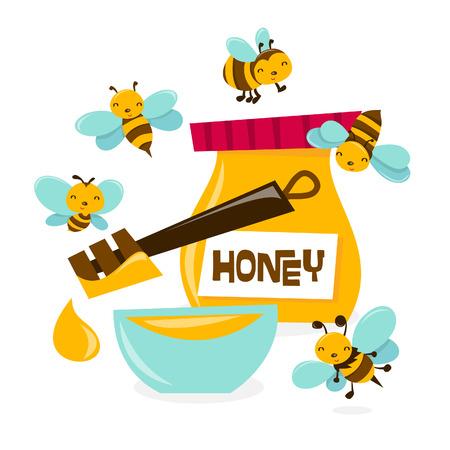 queen bee: Una ilustraci�n de dibujos animados de un mont�n de abejas de miel lindo enjambre sobre un taz�n y un tarro de miel. Vectores