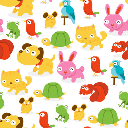 domestic animals: A cartoon illustration seamless pattern background of happy pet shop animals theme.  Illustration