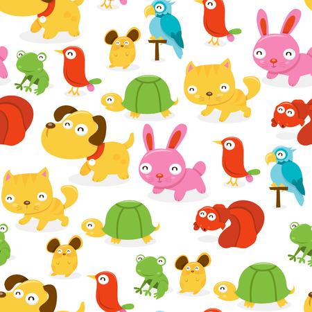tienda de animales: Una ilustraci�n de dibujos animados patr�n de fondo sin fisuras de feliz tienda de mascotas animales tema.