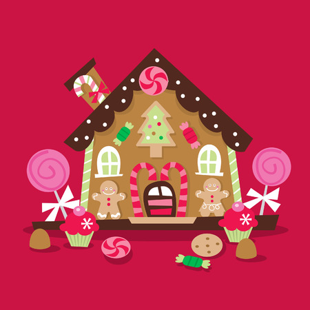 A cartoon illustration of a whimsical and retro inspired Christmas gingerbread house with lots of candy, lollipop and sweets as decoration.