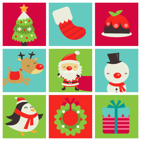 snowman: A retro cute illustration of 3x3 chistmas tiles with various christmas symbols