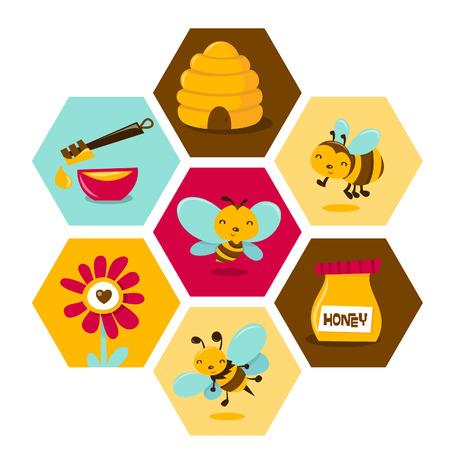 miel et abeilles: Une illustration de bande dessin�e mignon abeilles th�me nid d'abeille hexagonale.