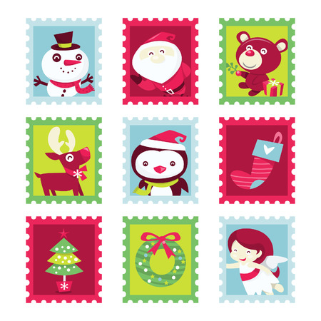 A cartoon illustration of nine different whimsical fun christmas theme stamps set.  Vector
