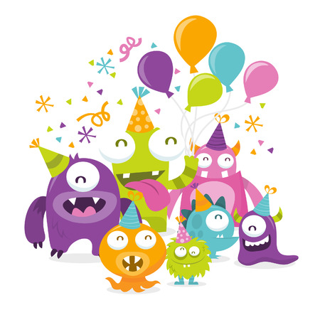 silly: A cartoon illustration of a happy silly monsters celebration party.